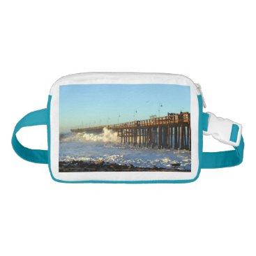 Beach Themed Ocean Wave Storm Pier Waist Bag