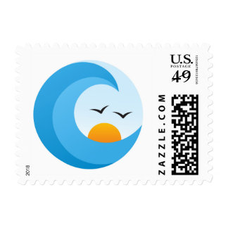 Ocean wave sunrise or sunset with birds postage