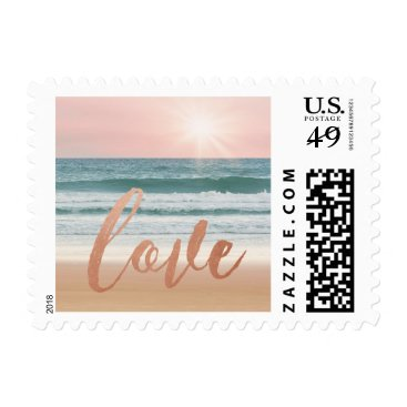 Beach Themed Ocean Wave Sunset Sunrise Love Beach Wedding Stamp