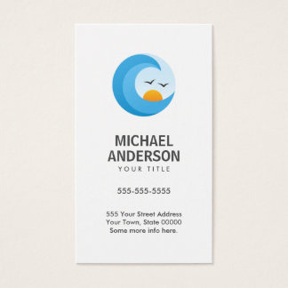 Ocean wave with sun and birds, modern and minimal business card