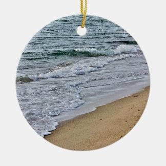 Ocean waves and beach ceramic ornament