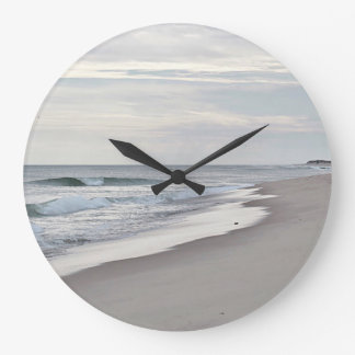 Ocean waves and beach large clock