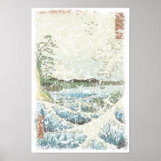 Ocean waves and Mt Fuji Poster