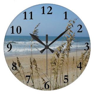 Ocean Waves and Sand Dune Sea Oats Landscape Photo Wall Clock