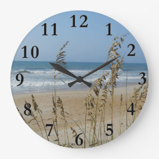 Ocean Waves and Sand Dune Sea Oats Landscape Photo Large Clock