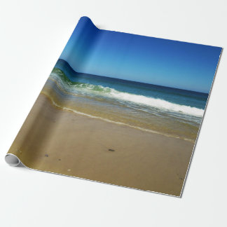 Ocean waves and sandy beach wrapping paper