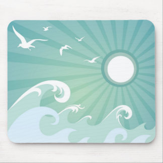 Ocean Waves and Sun Mouse Pad
