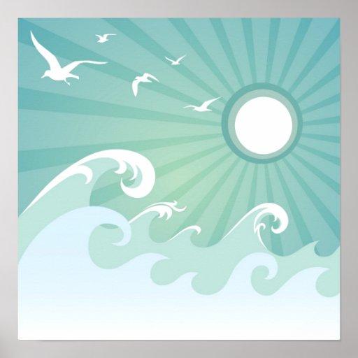 Ocean Waves and Sun Print