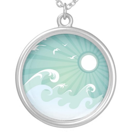 Ocean Waves and Sun Round Pendant Necklace