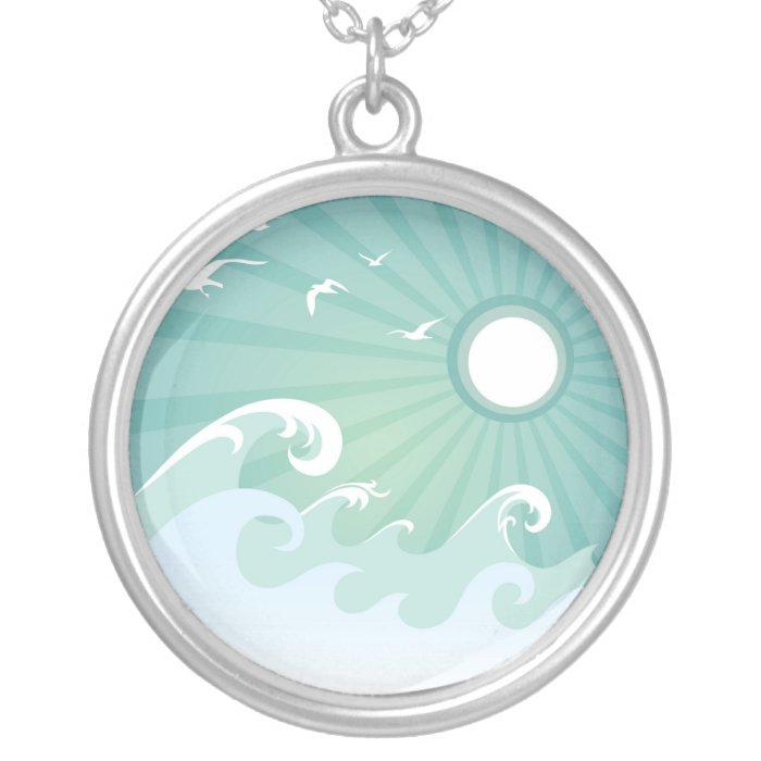 Ocean Waves and Sun Silver Plated Necklace