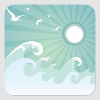 Ocean Waves and Sun Square Stickers