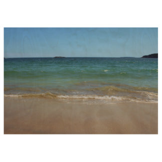 Ocean Waves at Sand Beach Wood Poster