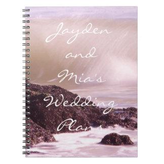 Ocean Waves at Sunset Wedding Plans Notebook
