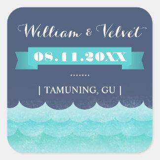 Ocean Waves Beach Wedding Favor Stickers