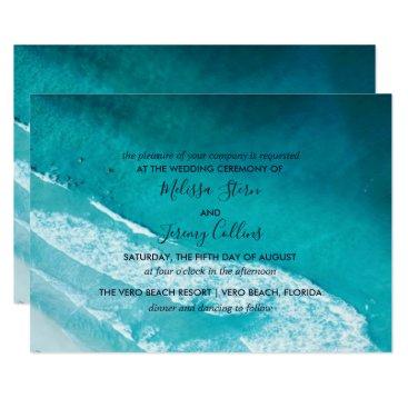 Beach Themed Ocean Waves Beach Wedding Invitation