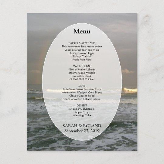 ocean waves beach wedding menu template zazzle com
