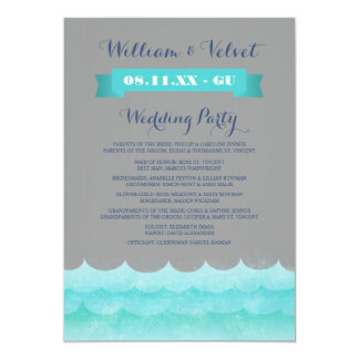 Ocean Waves Beach Wedding Programs 5x7 Paper Invitation Card