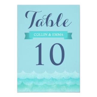 Ocean Waves Beach Wedding Table Numbers Card