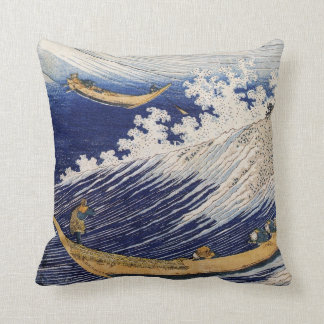 Ocean waves by Katsushika Hokusai Throw Pillow
