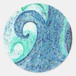 Ocean Waves Cameo Classic Round Sticker
