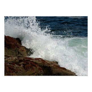 Ocean Waves Crashing against the Rocks Poster