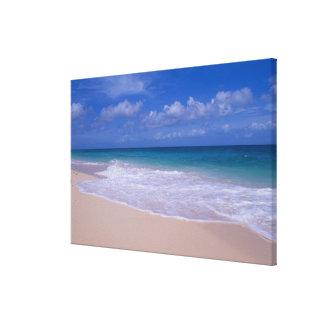 Ocean waves foaming onto sandy beach canvas print