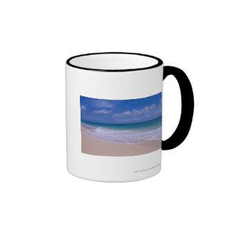 Ocean waves foaming onto sandy beach ringer coffee mug