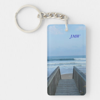 Ocean Waves from Beach Pier Morning Mist Photo Key Chains