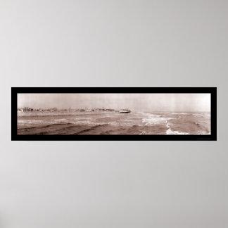 Ocean Waves Galveston Photo 1910 Poster
