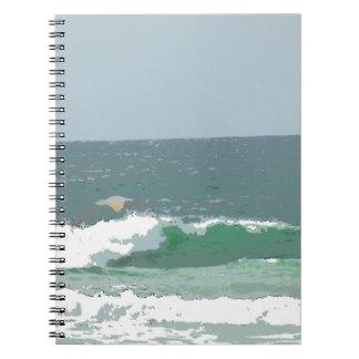 OCEAN WAVES GOLD COAST AUSTRALIA ART EFFECTS SPIRAL NOTEBOOK
