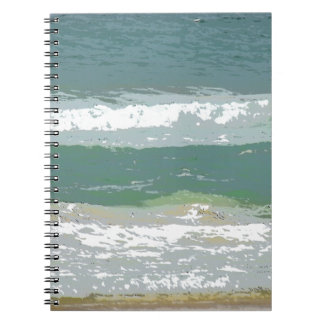 OCEAN WAVES GOLD COAST AUSTRALIA WITH ART EFFECTS SPIRAL NOTEBOOK