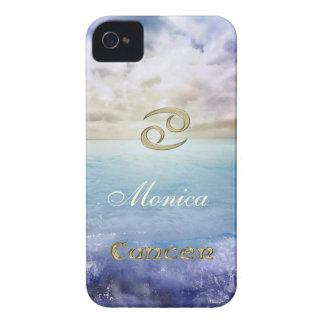 Ocean Waves Gold  Zodiac Sign Cancer iPhone Case
