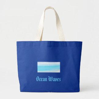 Ocean waves large tote bag