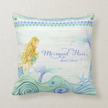Beach Themed Ocean Waves Mermaid Hair Tail Wooden Saying Sign Throw Pillow