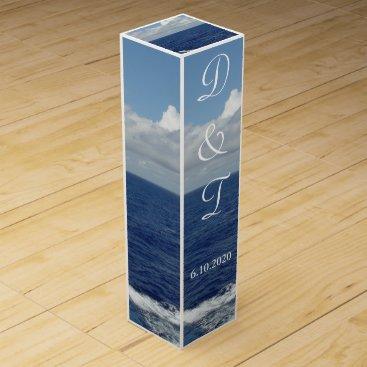 Beach Themed Ocean Waves Monogrammed Wedding Wine Box Favors