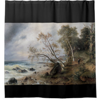 ocean waves mountain path painting shower curtain