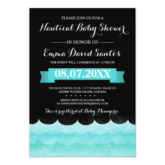 Ocean Waves Nautical Baby Shower Card