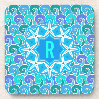 Ocean Waves Nautical Beach Starfish Monogram Blue Beverage Coaster