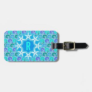 Ocean Waves Nautical Beach Starfish Monogram Blue Luggage Tag