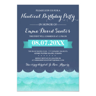 Ocean Waves Nautical Birthday Party Card