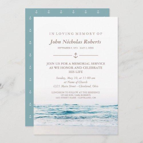 Ocean Waves Nautical Memorial Service Invitation