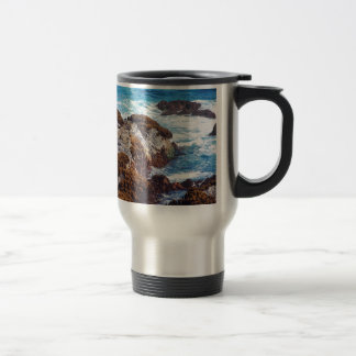 Ocean waves on coast travel mug