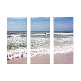 Ocean Waves on Pink Sandy Beach Gallery Wrap Canvas