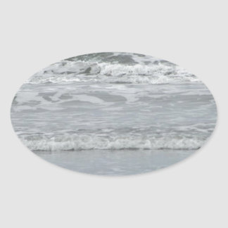 Ocean Waves Oval Sticker
