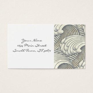 Ocean Waves Pattern Ancient Japan Art Business Card