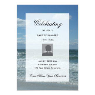 Ocean Waves photo Celebration of Life invitation
