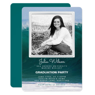 Ocean Waves Photo Graduation Party Invitation