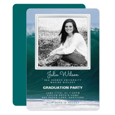 Beach Themed Ocean Waves Photo Graduation Party Invitation