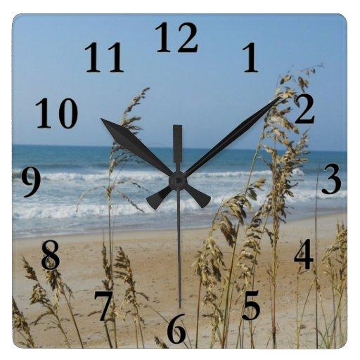 Ocean Waves Sand Dune Sea Oats Landscape Photo 2 Square Wall Clock