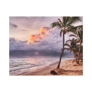 Ocean Waves Sandy Beach Sunset Canvas Print